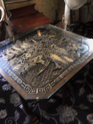 "UNUSUAL NICE SIZED WOODEN FOLDING TABLE CARVED CHINESE TOP FITTED GLASS 24"" SQ"